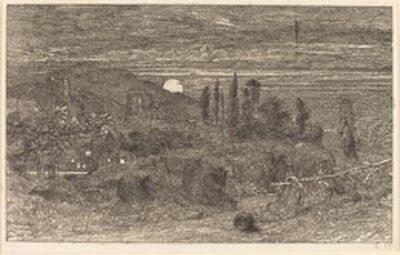Samuel Palmer, 'The Rising Moon, or An English Pastoral', 1857