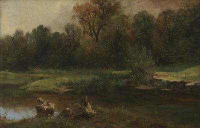 Alexandre Calame, 'Landschaft mit einem Teich im Vordergrund', Mid 19th century