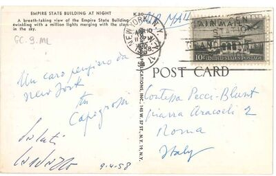 Giuseppe Capogrossi, 'Postcard of Greetings by Capogrossi', 1958