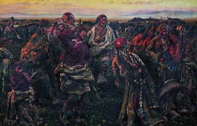 Pei Zhuangxin, 'Dancing in the sunset 歡樂的鍋莊', 1984