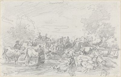 Eugène Boudin, 'Herds Crossing a Stream', 1877