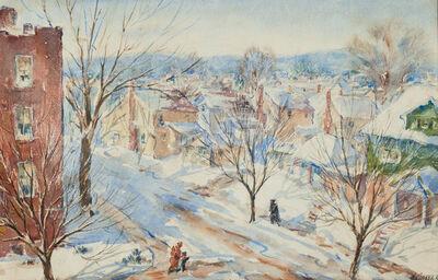 Henry Gasser, 'Newark Street Snow Scene in Sunlight with Figures'