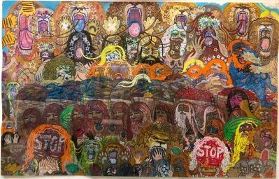 Alex O'Neal, 'The Mean Hippies (Drawing with Rattlesnake Warrior and Red Rebels) Outsider Art', 21st Century