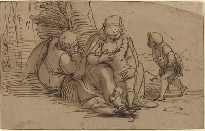 Luca Cambiaso, 'Holy Family with Infant Saint John'