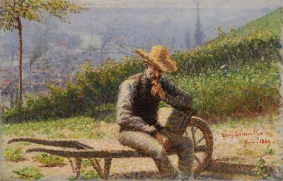 Léon-Jules Lemaitre, 'Portrait présumé de Charles Angrand sur une brouette dans un jardin surplombant Rouen', 1889