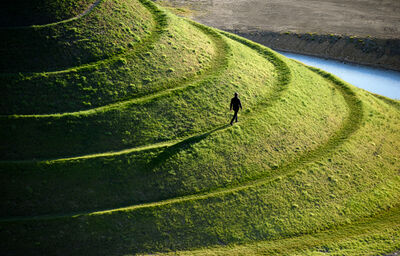 Steve McCurry, 'Man Walks on Crawick Multiverse, Scotland, UK', 2016