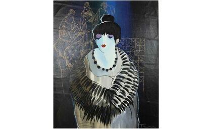 Itzchak Tarkay, 'Liza at the Party', ca. 2001