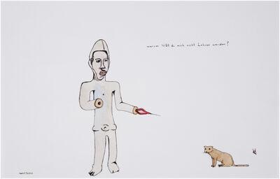 Marcel Dzama, 'Untitled (Figure & cat)', ca. 1999