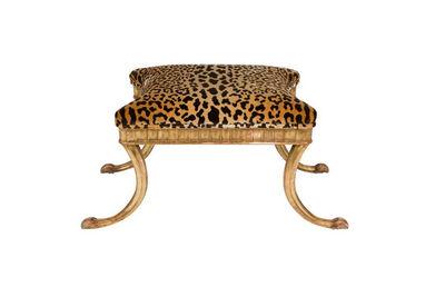 Klismos, 'Giltwood and Leopard Klismos Style Bench', ca. 1980