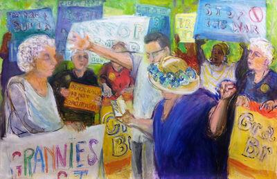 Regina Silvers, '#8201 Granny Peace Brigade Series: July 4th, Reading the Constitution', 2011