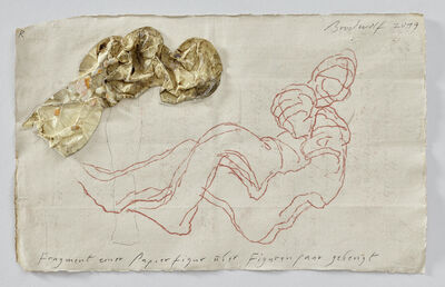 Jürgen Brodwolf, 'Fragment einer Papierfigur über Figurenpaar gebeugt  (Fragment of a Paper Figure bended over a Figure-couple)', 2019