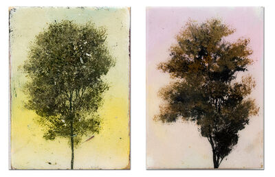 Peter Hoffer, 'Cameo Pair - small, diptych, colourful, trees, resined, acrylic, oil, on panel', 2016