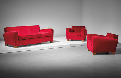 Jean Royère, 'Sofa and pair of armchairs', ca. 1949