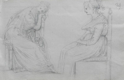 Antonio Canova, 'Studies of two seated women', Early 19th century