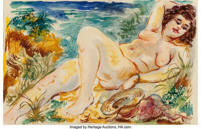 George Grosz, 'Reclining Nude with Sun Hat, Cape Cod', 1939