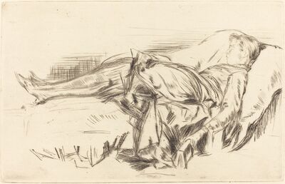 James Abbott McNeill Whistler, 'A Child on a Couch, No.2', ca. 1873/1875