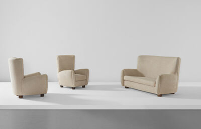 Jean Royère, 'Relax sofa and pair of armchairs', ca. 1950