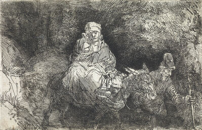 Rembrandt van Rijn, 'The Flight into Egypt: Crossing a Brook', 1654