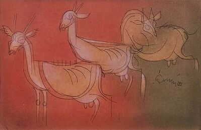 """Ramananda Bandyopadhyay, 'Playing, Mixed Media on Paper, Red, Orange, Green Colours by Modern Artist """"In Stock""""', 2006"""