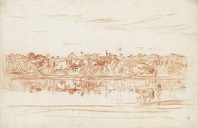 Charles François Daubigny, 'Paysage au bord de l'étang.', circa 1855