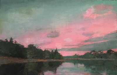 "Larry Horowitz, '""Dusk II"" oil painting of blue sky and pink sunset over water', 2020"