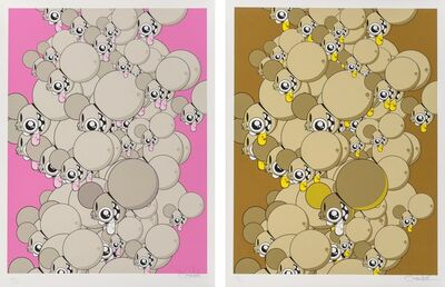 James Marshall (Dalek), 'Space Monkey Heads (Brown and Pink) (two works)', 2008