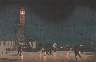 Kobayashi Kiyochika 小林清親, 'Kudanzaka at Night in Early Summer', Meiji era-1880