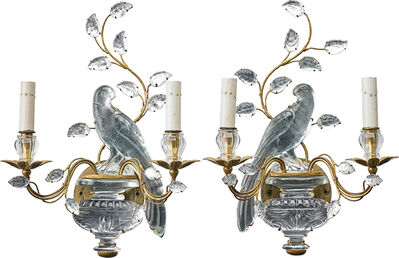 Bagues Style, 'Pair Of Bagues Style Rock Crystal Wall Lights', 20th c.