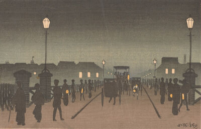 Kobayashi Kiyochika 小林清親, 'Night at Nihonbashi', Meiji era-1881