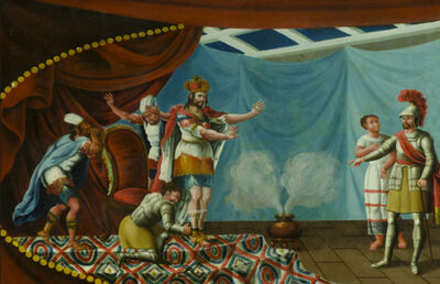 Unknown Artist, 'Banca con escena de la aprehensión de Moctezuma por Hernán Cortés. (Fragmento)'