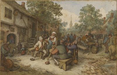 Adriaen van Ostade, 'Peasant Festival on a Town Street', 1674