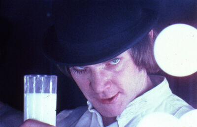 Stanley Kubrick, 'A Clockwork Orange, directed by Stanley Kubrick (1970-71; GB/United States). Alex DeLarge (Malcolm McDowell) in the Korova Milkbar.', 1970-1971