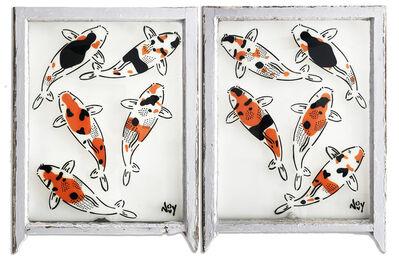 "Jeremy Novy, '""5 Koi - Diptych"" Spray paint on found glass in pale blue window wood frame', 2021"