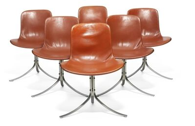 Poul Kjærholm, 'PK 9. A set of six chairs with chromed steel frame. Seat and back upholstered with reddish brown leather.'
