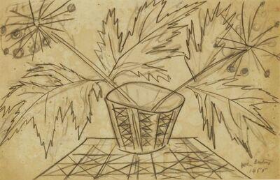 John Banting, 'LEAVES AND SEEDHEADS IN A GEOMETRIC POT'