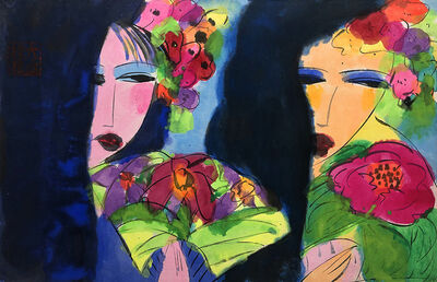 Walasse Ting 丁雄泉, 'Two Oriental Girls with Flower and Hand Fan', 1990-2000