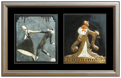 Erté (Romain de Tirtoff), 'Erte Rigoletto Pas De Deux 2 Bronze Relief Sculpture Signed Deco Artwork Framed', 20th Century