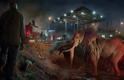 Nick Brandt, 'Petrol Station with Elephant and Water Truck', 2018