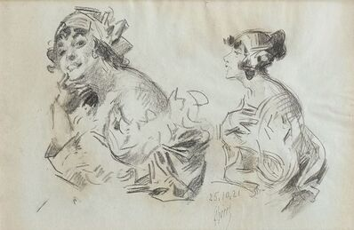 Jules Chéret, 'Sketch of a woman side profile, and Head studies of lady in bonnet', c. 1918-1921