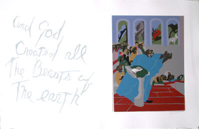 """Jacob Lawrence, 'No. 6. """"And God created all the beasts of the earth.""""', 1990"""