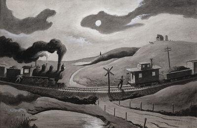Thomas Hart Benton, 'Night Encounter of Two Trains', 1967