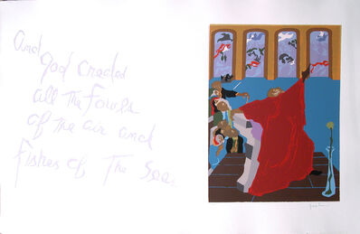"""Jacob Lawrence, 'No. 5. """"And God created all the fowls of the air and fishes of the seas.""""', 1990"""