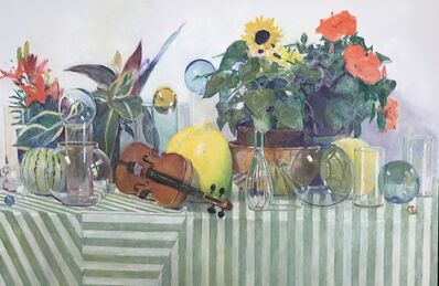 David Summers, 'Still Life on Striped Table with Violin and Living Plants', 2018