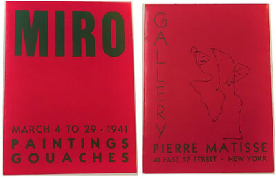 Joan Miró, ''MIRO', 1941, Exhibition Announcement, Pierre Matisse Gallery NYC', 1941