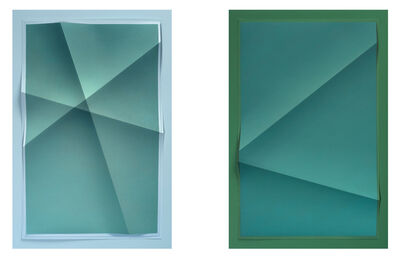 John Houck, 'Untitled #208_01, 2 colors, #5E9795, #A5CCDD, and Untitled #208_02, 2 colors #11807C, #307450 (From Aggregate series)', 2015