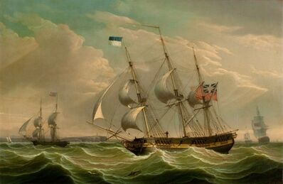 Robert Salmon, 'A British Armed Sloop and Auxiliary Brig', 1808