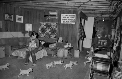 Sage Sohier, 'Family with Spaniel Puppies, Milan, New Hampshire', 1980