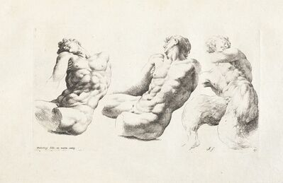 Cornelis van Poelenburgh, '[Two views of a torso of a male youth and a young satyr]', 1731-1741