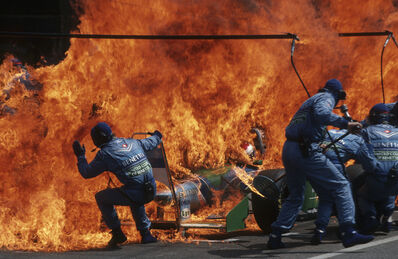 Arthur Thill, 'Narrow Escape – Fire Incident in Hockenheim, German F1 Grand Prix July 31', 1994