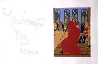 "Jacob Lawrence, 'No. 7. ""And God created man and woman.""', 1990"